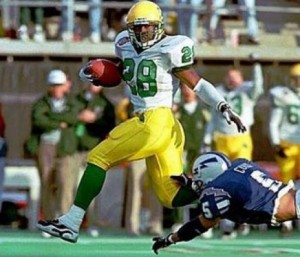 Saladin McCullough (1996-97) racked up 24 touchdowns in 18 games as a Duck