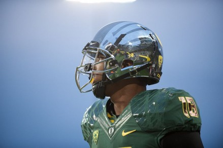 Freshman receiver Dwayne Stanford sporting one of Oregon's latest helmet designs.