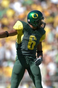 "Receiver Demetrious Williams sporting the ""O"" logo back in 2003."
