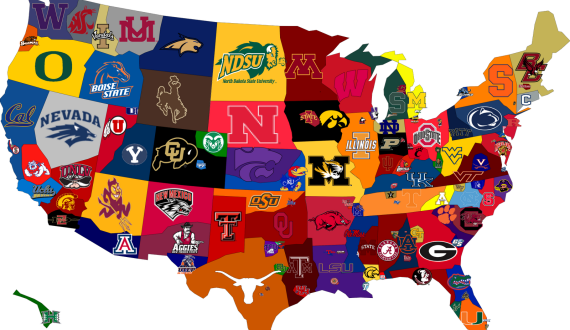 How a college football fan views a map