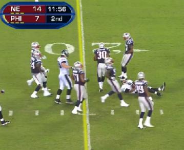 Nick Foles slides after 11 yard run vs Patriots