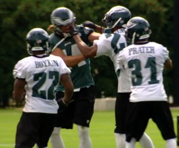 Riley Cooper and Cary Williams tussling