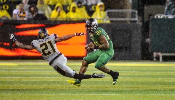 Thomas Tyner had 13 carries for 93 yards and 1 TD vs Cal