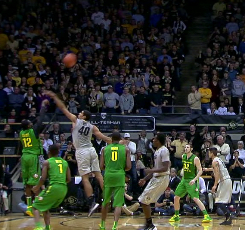 Jason Calliste hit a huge three to give Oregon momentum heading into halftime, but it wasn't enough to put out the hot shooting of the Buffs.