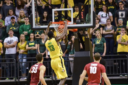 Armardi throws down a powerful dunk against Stanford.