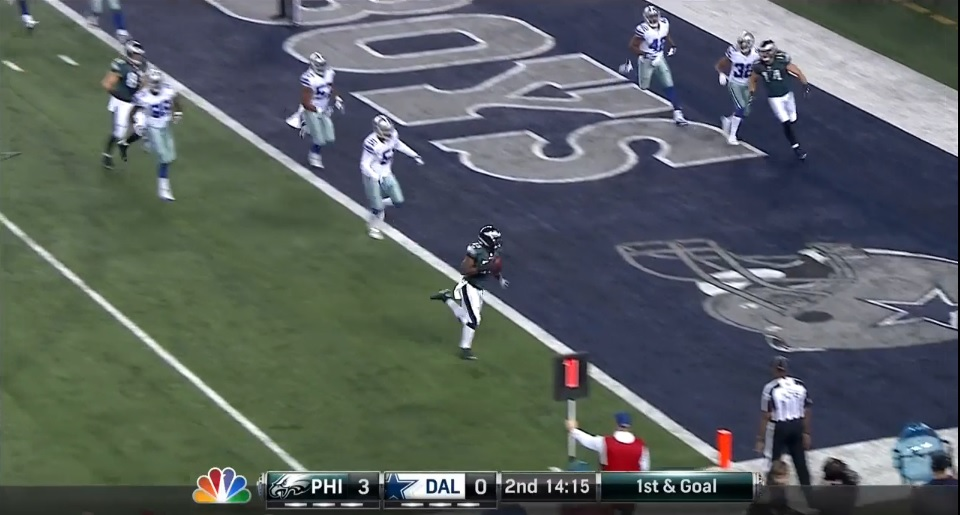 LeSean McCoy, wide open for touchdown
