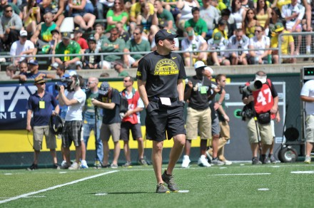 The Ducks yearly Spring Game tribute to the troops is a great method for showing character to student-athletes