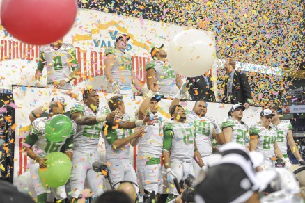 Celebrating Victory over Texas at last year's Alamo Bowl