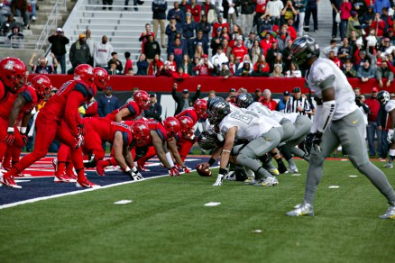 Lined up at tight end. Game vs. Arizona Nov. 23, 2013.