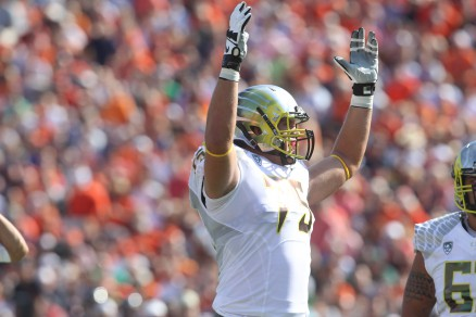 Jake Fisher signaling TD against Virginia