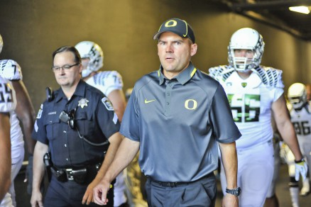 Mark Helfrich coming out the tunnel at Autzen Stadium