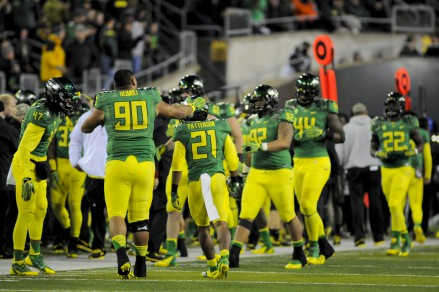 A team of hungry ducks heading to the sideline