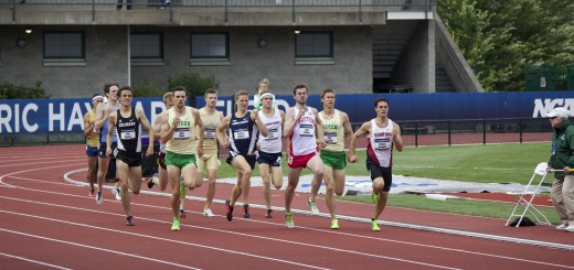 Mac Fleet and Sam Prakel of Oregon battle for first and second place in their heat of the men's 1500 meter run.  Photo By: Ben White