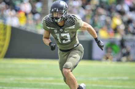 Allen runs a route in the Oregon spring game.