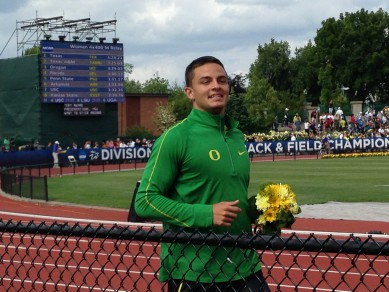 Devon Allen after winning the NCAA Championship in the 110m hurdles
