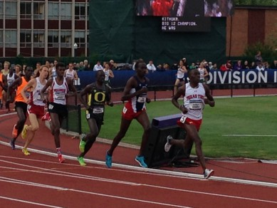 Edward Cheserek pacing himself in Saturday's 1500m run at the NCAA Finals