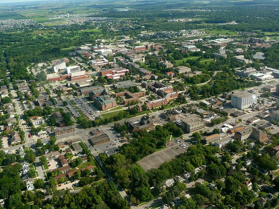 Aerial shot of Iowa State's campus.