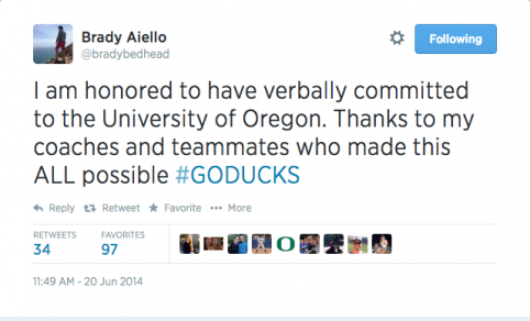 Aiello's commitment on Twitter