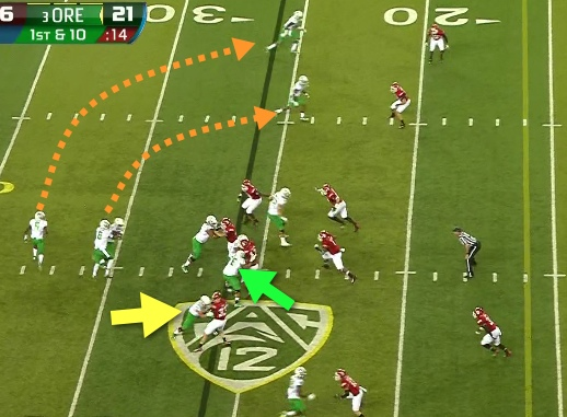 Look at the block of Jake Pisarcik!  (Green arrow)