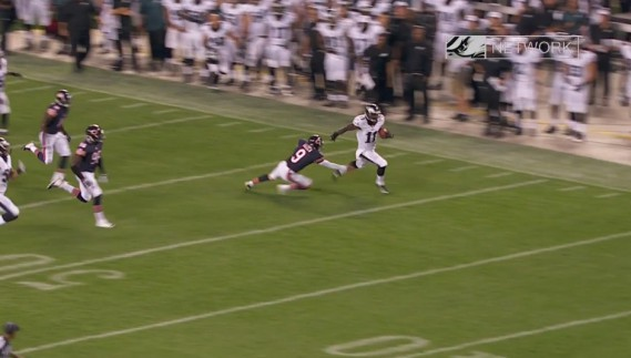 Josh Huff dismissing a would be tackler on his TD return