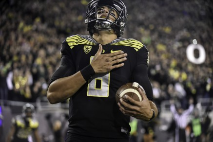 Mariota after scoring a touchdown against Stanford.
