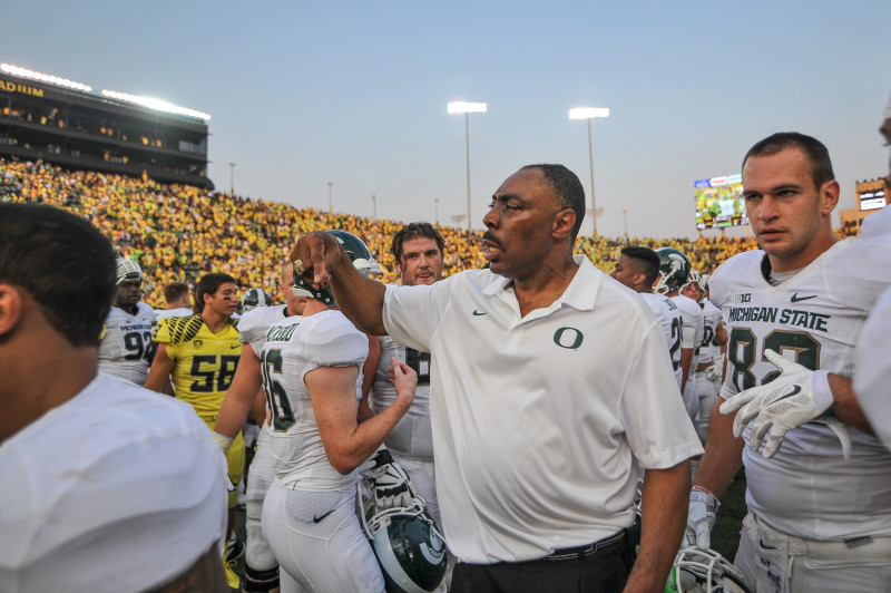 Ducks defensive coordinator Don Pellum after helping lead his team to victory against Michigan State. Photo: Kevin Cline