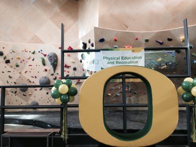 The new rock wall decked out in UofO decor