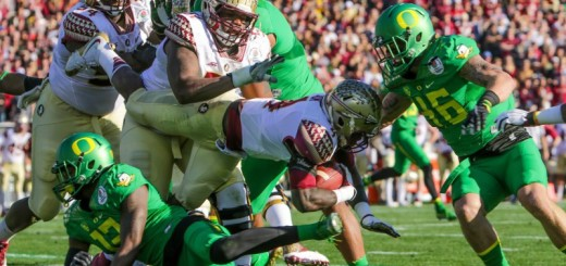 Oregon's defense slowed FSU run game, leaving Jameis Winston chasing the Ducks on the scoreboard.