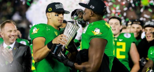 Ducks celebrate their 2nd Rose Bowl victory