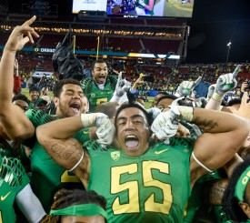 Tui Talia (55) was a junior college transfer that helped the Ducks defensive line depth last season.