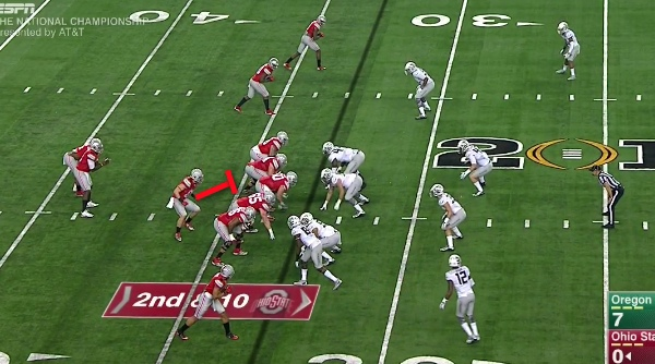 Watch the H-Back (Red lines) of Ohio State.