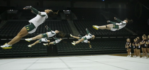 The University of Oregon Acrobatic and Tumbling team has won four consecutive national championships.