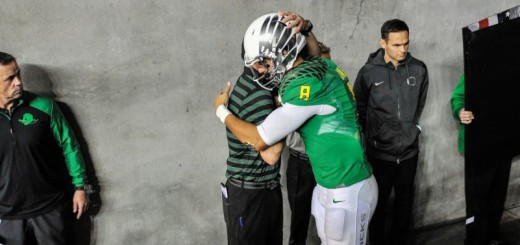 Marcus Mariota and Mark Helfrich Embrace