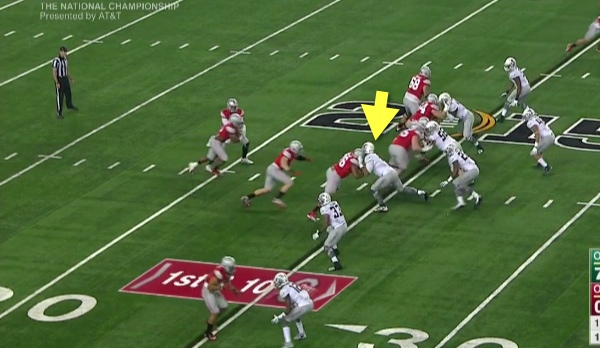 """Armstead defends the """"B"""" gap."""