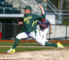 Garrett Cleavinger delivers a pitch in Oregons 8-6 win.