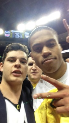Joe Young and yours truly after a big win against Utah