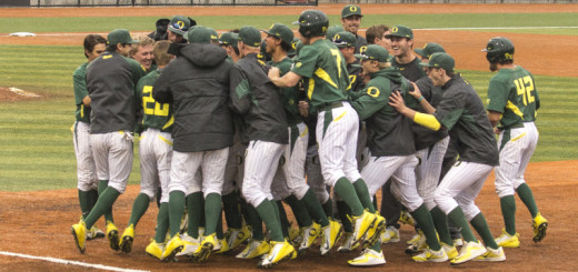 The Ducks celebrate after defeating Washington 3-2 in extras