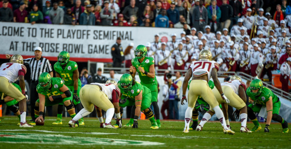Oregon defeats Florida State 59-20 in the 101st Rose Bowl, and first ever National Playoff Semifinal game January 1, 2015.