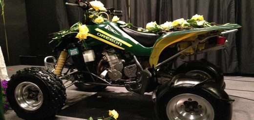 Joe Oricks' ATV on stage at his celebration of life.