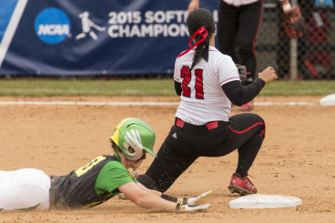 Lilley steals second base to put Oregon in scoring position.