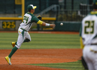 Mark Karaviotis saved the Ducks from a big inning with his strong defense