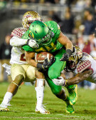 Thomas Tyner Runs Through Two Florida State Defenders In The Rose Bowl