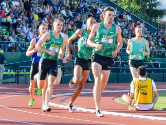 Three former Ducks racing on their old home track.