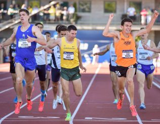 Blake Haney rides a wild sprint to the finish for third in the 1500.