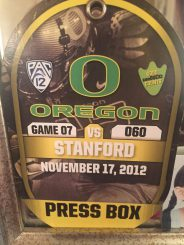 My press pass from the Stanford game.