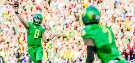 Marcus Mariota throws a pass during the Rose Bowl. Photo by: John Sperry