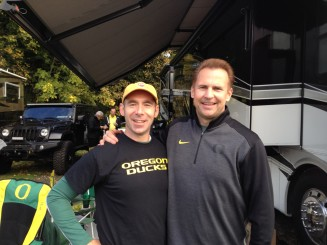Big Duck fans, the author with Steve Roberts enjoying a reunion before the Stanford game in 2014