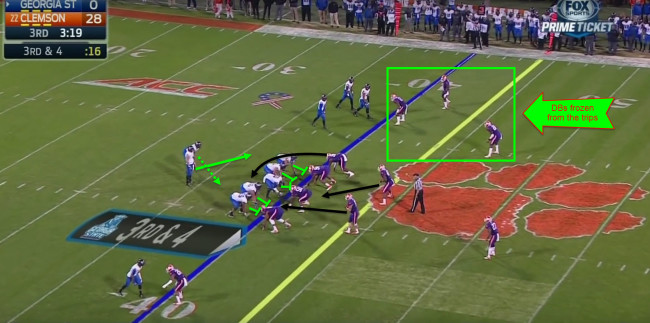 Out of the trips formation, the Panthers also run the read option.