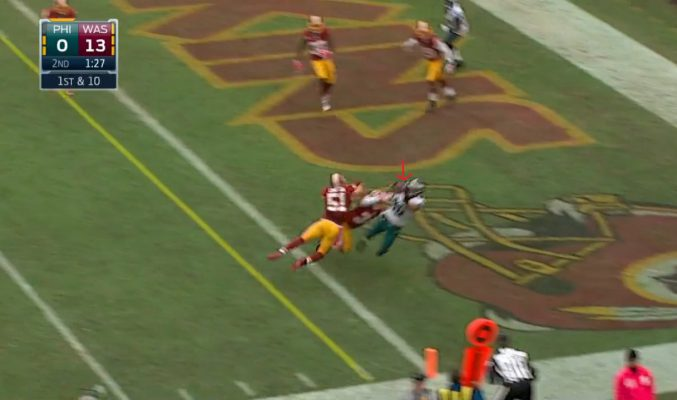 Zach Ertz' TD catch (called off due to penalty)