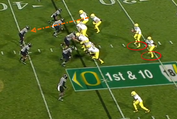 Movement left, and the H-back is looking at a linebacker